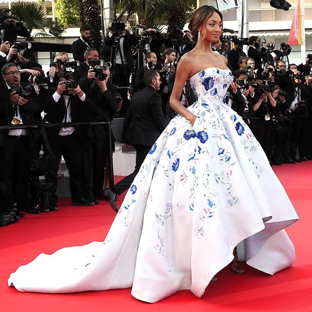 Jourdan Dunn wearing a floral dress by Ralph & Russo at the 2016 Cannes Film Festival