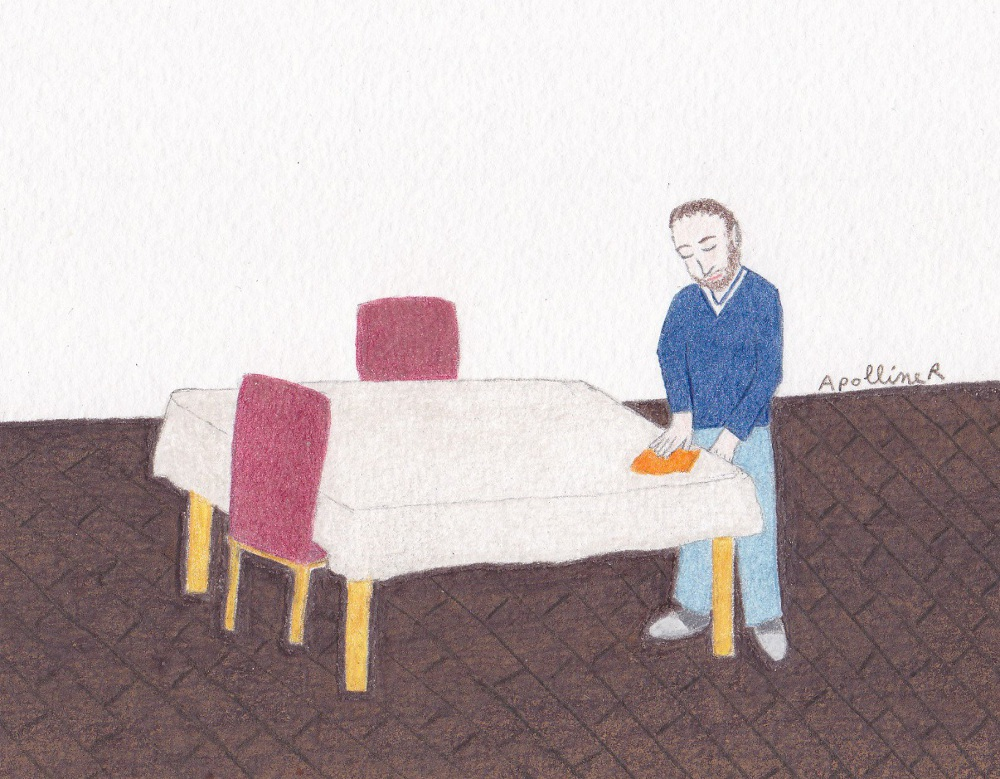 drawing of a man cleaning a table with a microfiber dishcloth