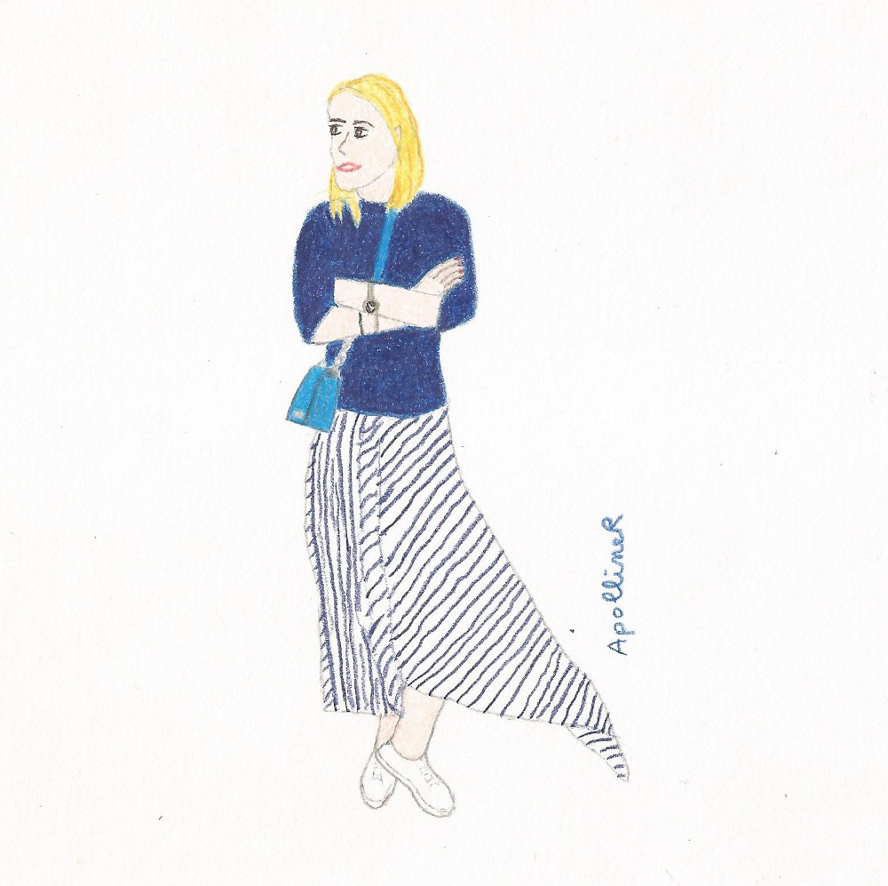 drawing inspired by a picture of blogger Pernille Teisbaek wearing a navy blue knit and a matching striped skirt