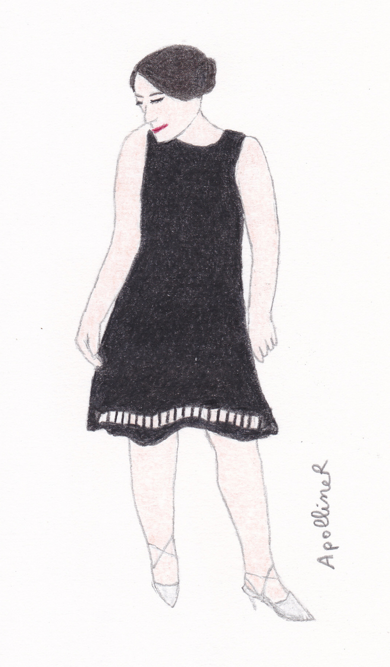 Drawing inspired by a picture of Jen from Tartan Brunette blog wearing a little black dress to a wedding