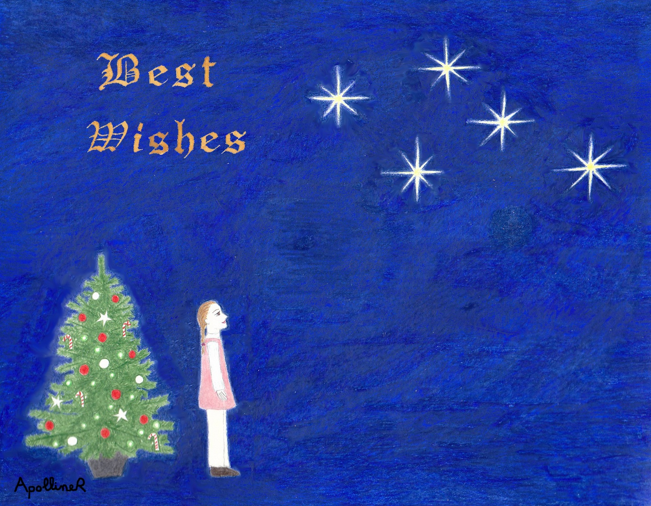Best Wishes card illustrated with a Christmas tree and a little girl watching stars