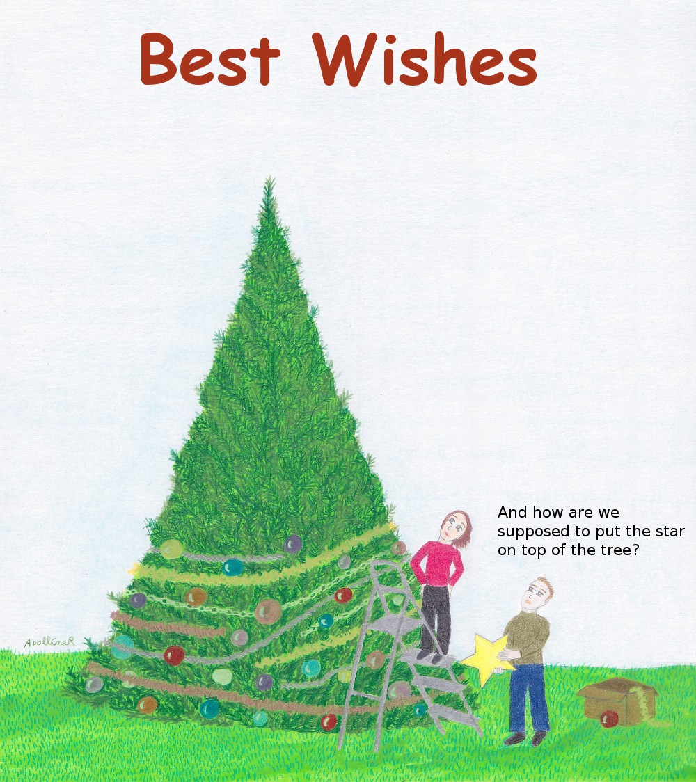 illustrated Best Wishes card