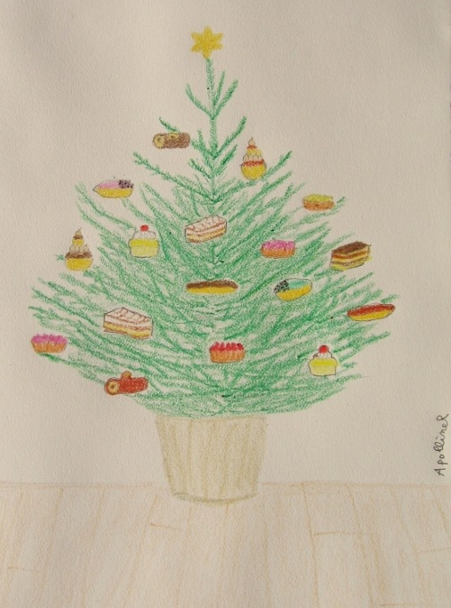 greetings card: drawing of a Christmas tree decorated with pastries