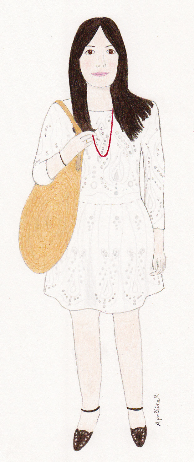 drawing of Sabina wearing a white lace dress