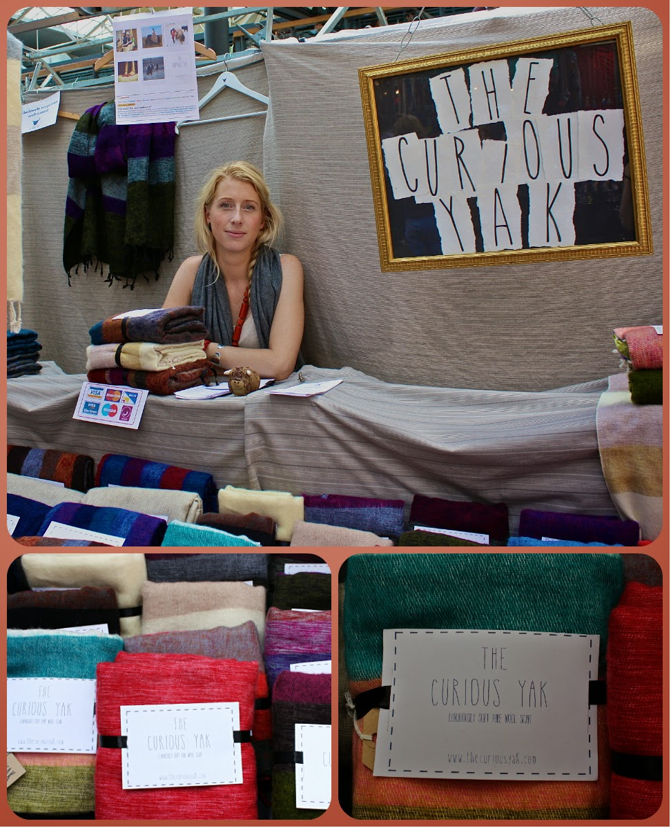 Le stand The Curious Yak au Spitafields Market à Londres