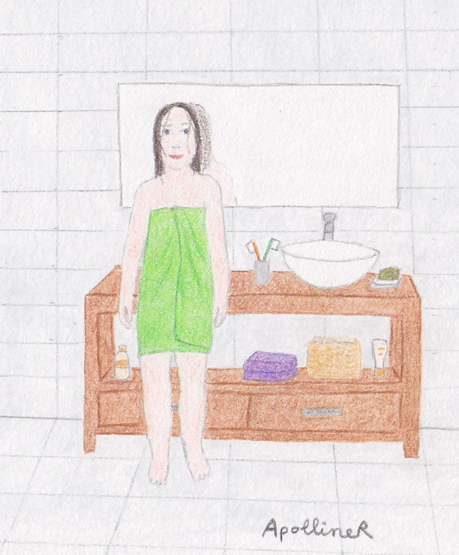 drawing of a woman wrapped in a microfiber towel in her bathroom