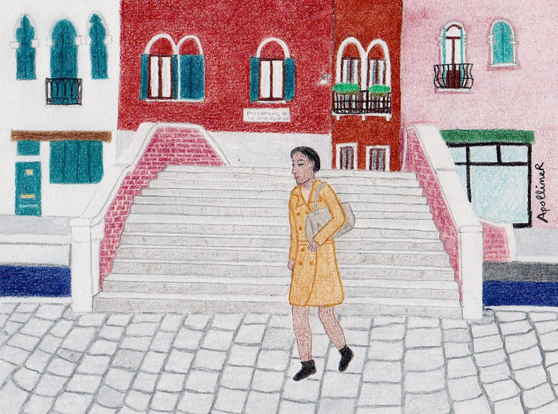 drawing of a young woman wearing a trench coat and walking in front of a Venetian bridge