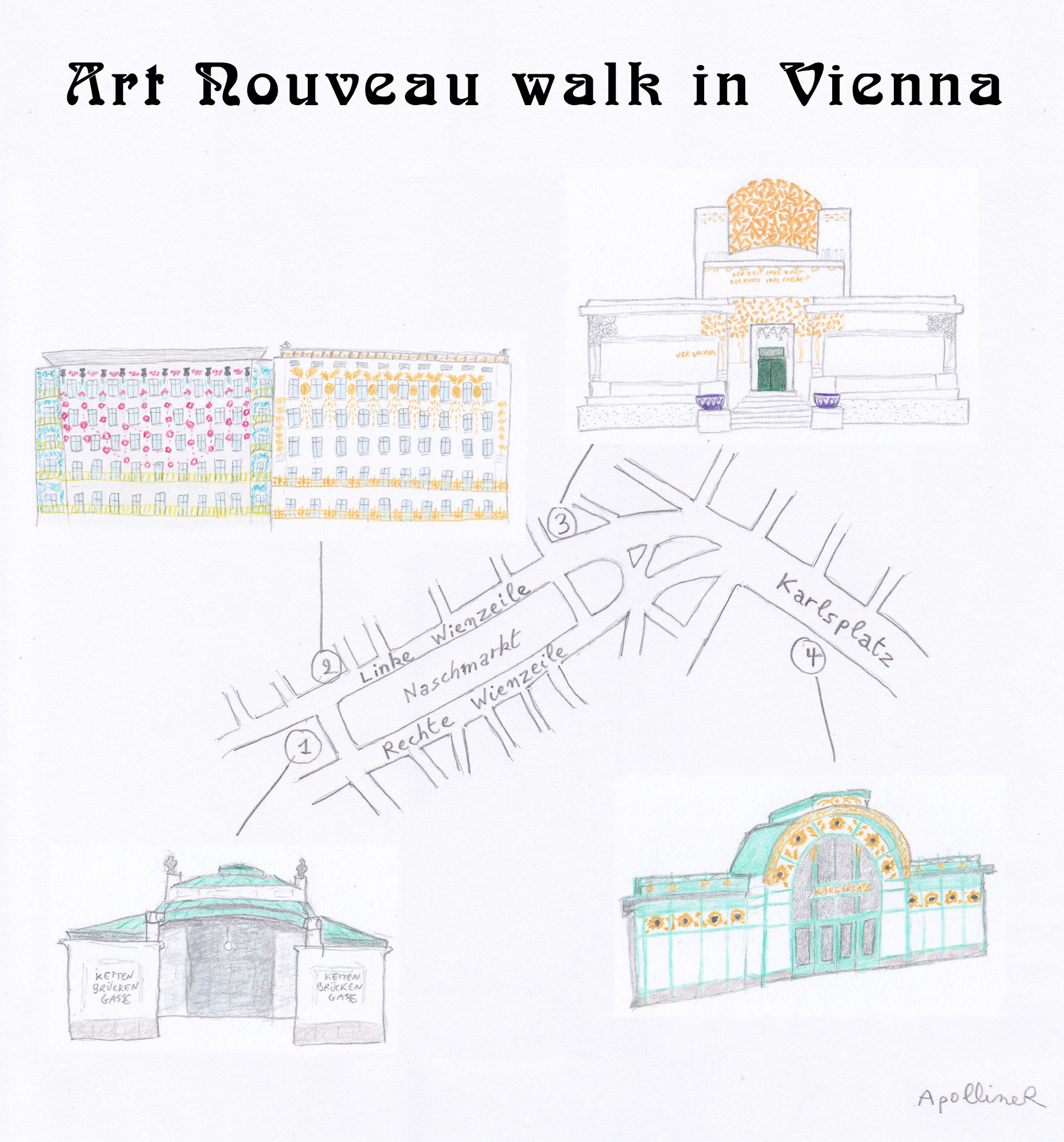 Itinerary of Art Nouveau walk in Vienna