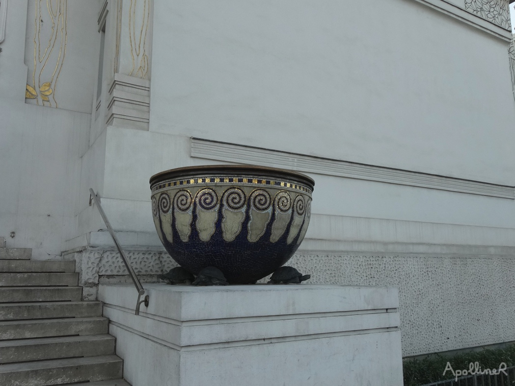 Gigantic vase and turtles statues at the Secession entrance in Vienna